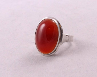 Art Deco Style Sterling Silver 925 Carnelian CARNEOL CABOCHON Lady's RING