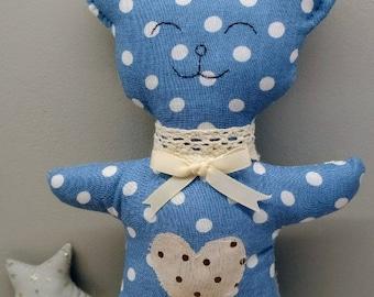 Stuffed plush blue Teddy bear boy birthday gift nursery decor