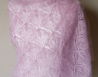 Shawl knitted with Mohair and silk / Hand-knitted shawl