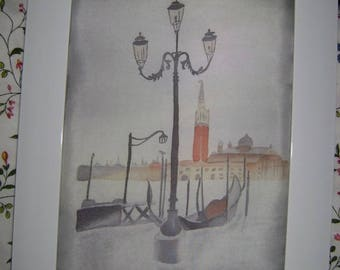 "Graceful hand-painted silk little picture ""Venitian atmosphere"""