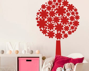 Flowering tree wall sticker, flowering tree wall decal decor, flowering tree wall sticker removable vinyl nature tree wall art [NA001]
