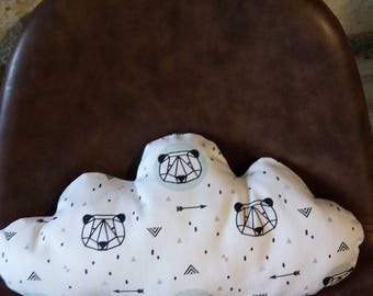 white cloud pattern panda pillow