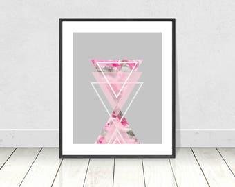 Pink Grey abstract triangles, Geometric print, Printable art, Pink Grey, Nordic Print, Scandinavian Wall Art, Scandi Minimalist, Scandi art