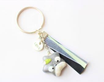 Star holographic totoro keychain-