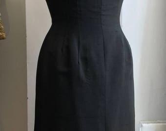Vintage Black Dress 1960s Vintage Evening Gown Scoop Back Dress Backless Dress