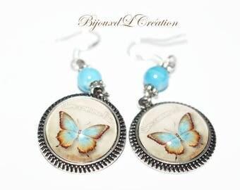 Vintage blue butterfly 925 sterling silver hook earrings