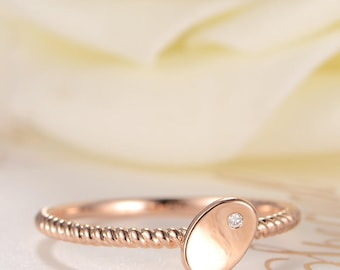 Diamond Rose Gold Ring Bean Antique Wedding Bridal Stacking Minimalist Simple Love Graduation Gift for Her Beaded Stackable Anniversary Ring