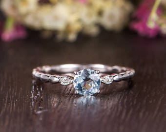 Antique Aquamarine Engagement Ring Women White Gold Solitaire Mini Ring March Birthstone Ring Diamond Minimalist Anniversary Promise Bridal