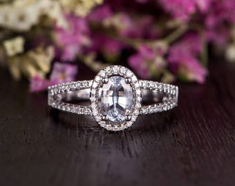 Engagement Ring Unique White Gold Ring Oval Cut White Sapphire Split Shank Eternity Antique Retro Halo Anniversary Women Promise Birthstone