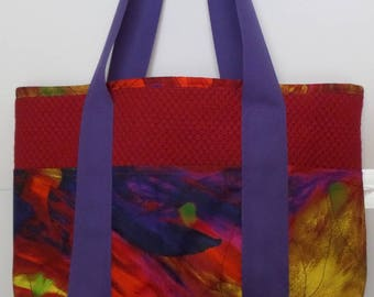 Shoulder Bag with Pockets Dark Red and Purple for Shopping, Books, School, Market, Diapers, Knitting and Sewing Projects