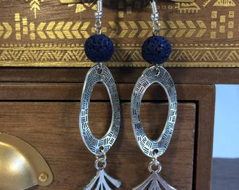 Ethnic earrings silver and blue