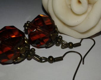Earrings faceted glass multi Brown
