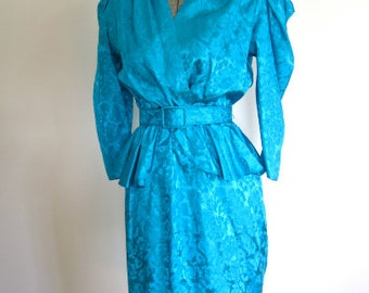 S M 80s Electric Aqua Teal Blue Floral Jacquard Repro 40s Style Peplum Belt by Steppin Out Small Medium