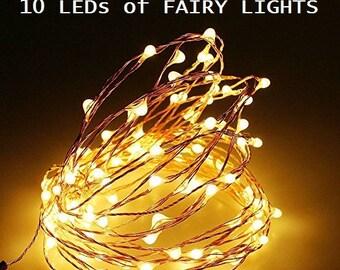 30 Pack of 10 LEDs Fairy Lights, Wedding Decorations lights, LED Mason Jar light Wedding Decor, firefly Lights, Halloween fairy lights