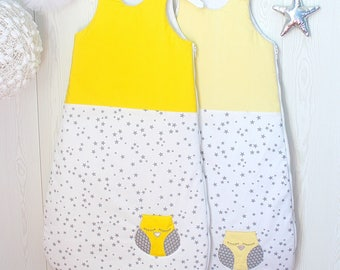 Baby sleeping bag, 6 - 24 months, white yellow and grey stars
