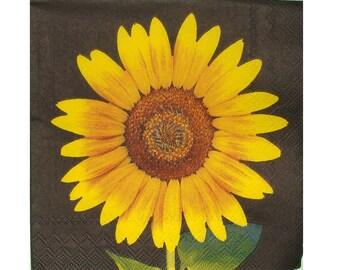Set of 3 napkins PLA129 sunflower black background