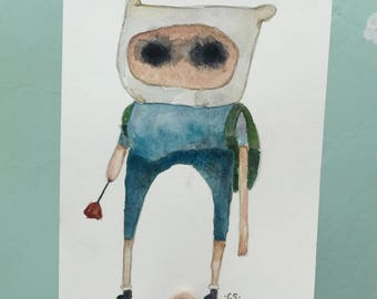 Adventure Time Finn Original Watercolor Painting