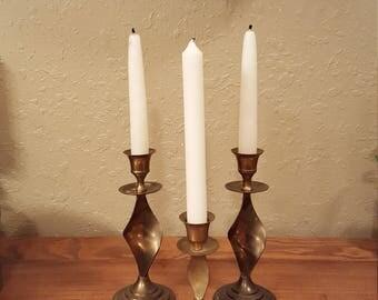 Set of 3 vintage brass twisted candlesticks.  Boho, eclectic, vintage candlestick trio.