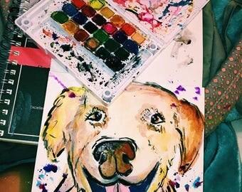 Custom water color pet portraits