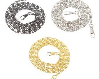 Bag handle 120 cm metal tie clip, gold, silver or black