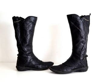 FRANCE ARNO boots Eu 37 Uk 4 US 6,5 Black genuine leather womens boots Tall boots Knee high riding boots Low heel casual comfort boots