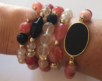 Bead Bracelet Stack Set/Black and Dark Rose/Candy Jade/Crystal