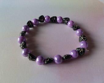 Elastic bracelet purple and black