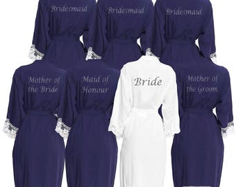 Personalised Navy Lace cuff Bridal Party Robes - Dressing Gowns - Wedding Robes- Bride - Bridesmaid - Glitter Print Bridal Dressing Gown