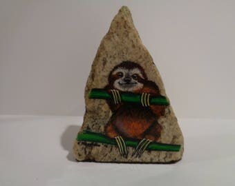 Sloth, Painted Rock, Decorative Stone, Exotic Animals, Wild Life, Paintings, Office Decor, Home Decor, Unique Gifts
