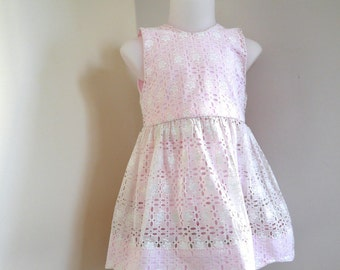 White cotton lace bottom dress form double rose petals and matching 9/12 months pink bloomers