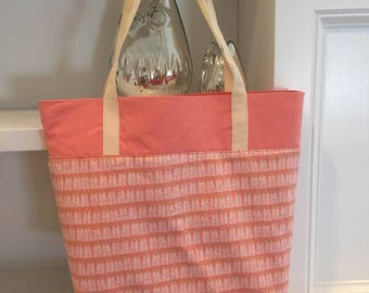 Coral Tote Bag Fully Lined With Inside Pockets