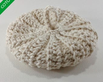 Organic cotton Tawashi 10cms unbleached untreated undyed