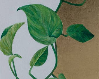 Original on canvas. Gold leaf. Contemporary painting of green hanging ivy.