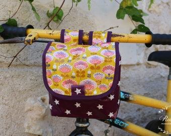Bicycle and scooter bag Caterpillar mustard yellow and plum in waterproof coated