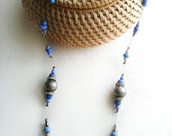Collier mid-long blue lavender and silver