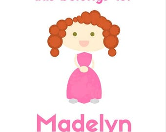 Red Hair with Hazel/Green Eyes, Pink Dress - This Belongs To... - Customizable Digital Sticker File