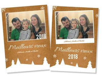 """Personalized """"best wishes 2018"""" greeting card in the snow Christmas spirit"""