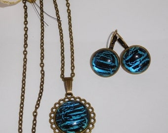Set necklace earrings cabochon blue and black hand painted