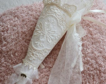 Large cone shabby chic lace embroidered