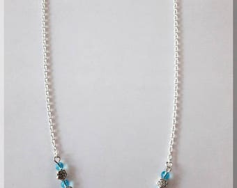 Silver and Blue Flower necklace