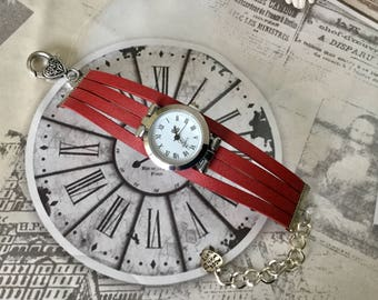 Wristwatch woman size UNIQUE round red color