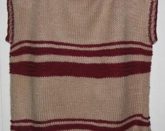 Acrylic, beige striped Wool Turtleneck Sweater Burgundy sleeveless