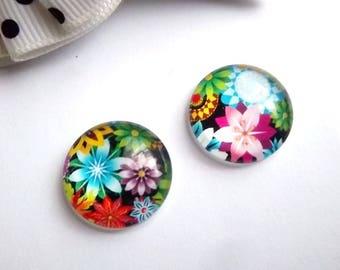 2 glass cabochons 18mm, flowers, FL6 theme