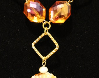 Gold-Wired Wrapped Crystal Pendant Necklace Set