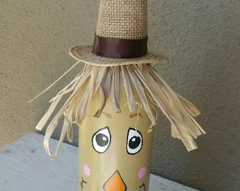 Upcycled Scarecrow Wine Bottle