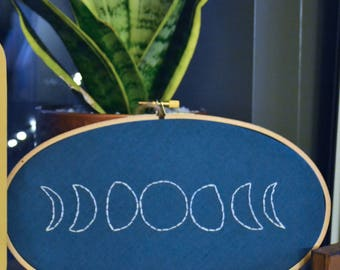 Moon Phases Embroidery Hoop | wall art, home decor, embroidery art, hand stitched