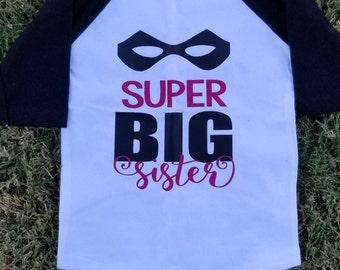 Super Big Sister With Hero Mask Big Sis Black White Baseball Raglan Shirt