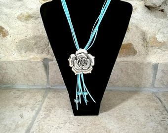 Long leather necklace sky blue, pink pendant, European beads