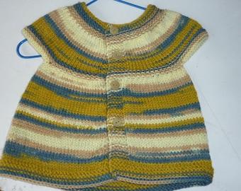 handmade 3/6 months girl sleeveless baby vest