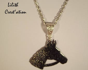 Black Horse pendant, on cold enameling copper